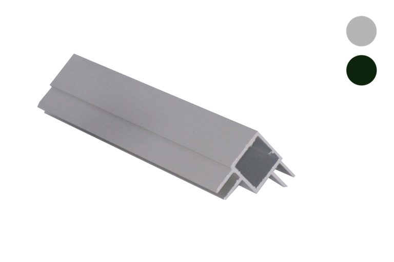 Aluminium koker 20x20 mm met 2 profielen haaks