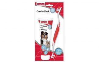 Beaphar Tandenborstel+Tandpasta voor honden en katten.