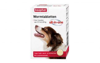 Beaphar Wormtabletten All-in-One 2,5 tot 40kg tegen wormen bij uw hond.