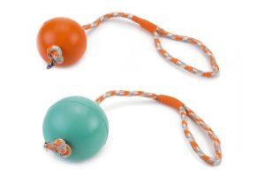 Beeztees rubberbal aan slingerkoord