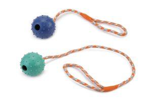 Beeztees rubberbal met bel aan slingerkoord