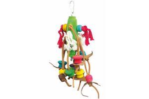 Duvo Birdtoy Touw met kleurrijke houten blokjes en leder speelhanger