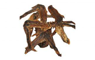 Gedroogde eendenvleugels is een heerlijke snack voor je hond. Een 100% natuurlijke snack afkomstig van de eend. De vleugels zijn stevige gedroogde snacks om aan te knabbelen voor je hond, maar niet te hard.