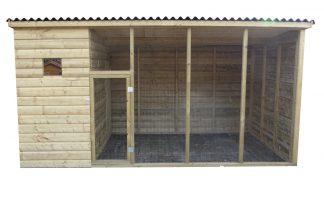 Geïmpregneerd houten volière 410 cm met nachthok