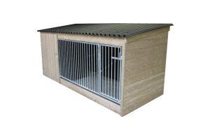 Hondenkennel laag model Nature 300 cm voor aflopend met betonplex