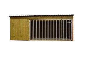Hondenkennel laag model Nature 300 cm met betonplex