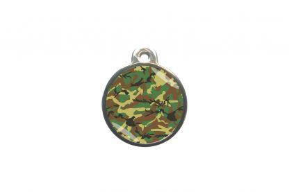 Dierenpenning camouflage is ideaal om aan de halsband of tuig te bevestigen. Wij graveren gratis jouw gegevens op de penning.
