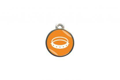 Dierenpenning ronde pootafdruk classic is ideaal om aan de halsband of tuig te bevestigen. Wij graveren gratis jouw gegevens op de penning.