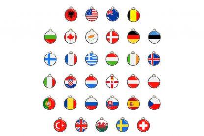 De Dierenpenning landenvlaggen is zeer geschikt voor als je op vakantie gaat naar het buitenland. Zo is het mogelijk om de penning te voorzien van het land van herkomst, zodat ze in combinatie met jouw gegevens snel de eigenaar hebben teruggevonden in geval van nood.