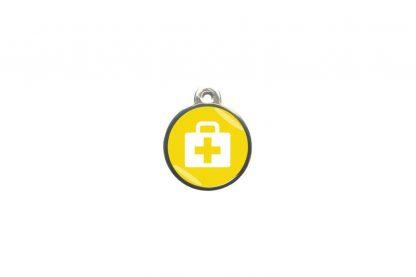Dierenpenning medkit classic is ideaal om aan de halsband of tuig te bevestigen. Wij graveren gratis jouw gegevens op de penning.