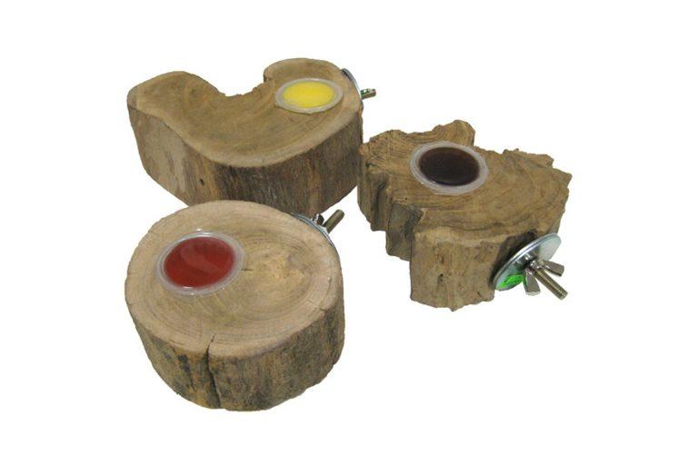 Jelly Cups fruitkuipjes houder Teakwortel met vulling