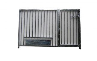 Kennelpaneel verzinkt laag model - spijlen - 150 cm - met deur en draaiplateau