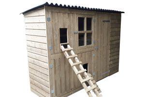 Maatwerk kippen- & konijnennachthok met opbergruimte