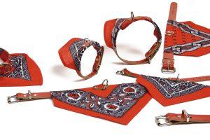 Rode lederen halsband met doekje