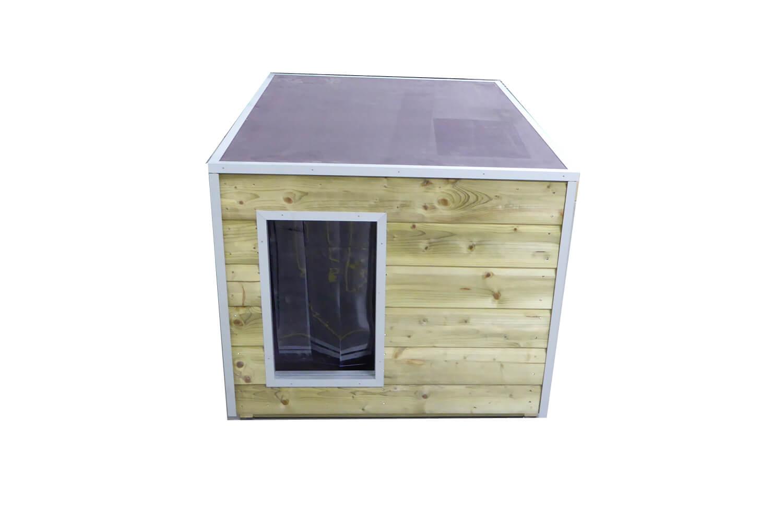 Maatwerk hondenhok nature met anti slip plat dak → dierencompleet
