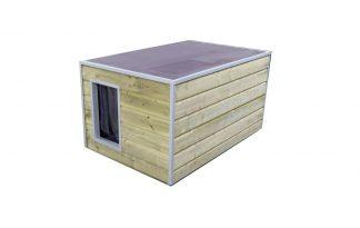 Maatwerk hondenhok met anti-slip plat dak