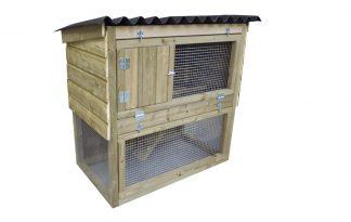 Maatwerk konijnenhok dubbele verdieping, met ren
