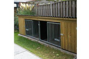 Maatwerk hondenkennel laag model, dubbele uitvoering