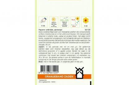 Oranjeband Zaden papaver oriëntale Gemengd