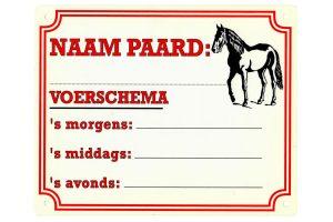 Naambord naam en voerschema
