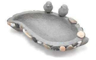 Stenen vogelbadje met druppelvorm