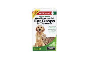 Vetzyme Antibacteriële Oordruppels en Cleanser voor uw hond en kat.