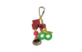 Vogelspeelgoed houten pijl met ringen