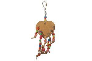 Vogelspeelgoed lederen hart met kralen
